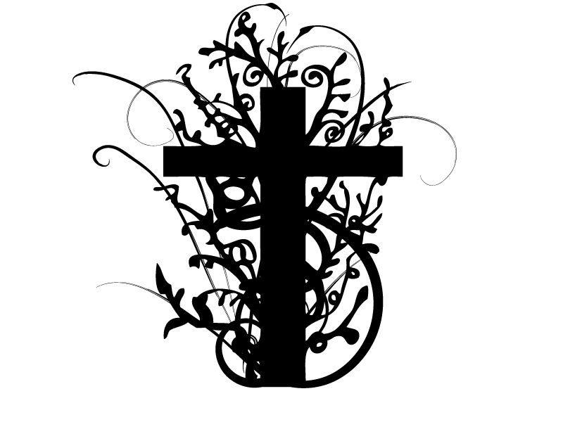 Cross with Scroll Vector Clip Art