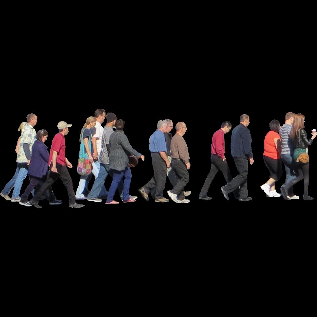 Crowd of People Walking Photoshop