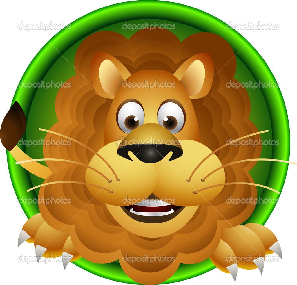 Cute Cartoon Lion Head