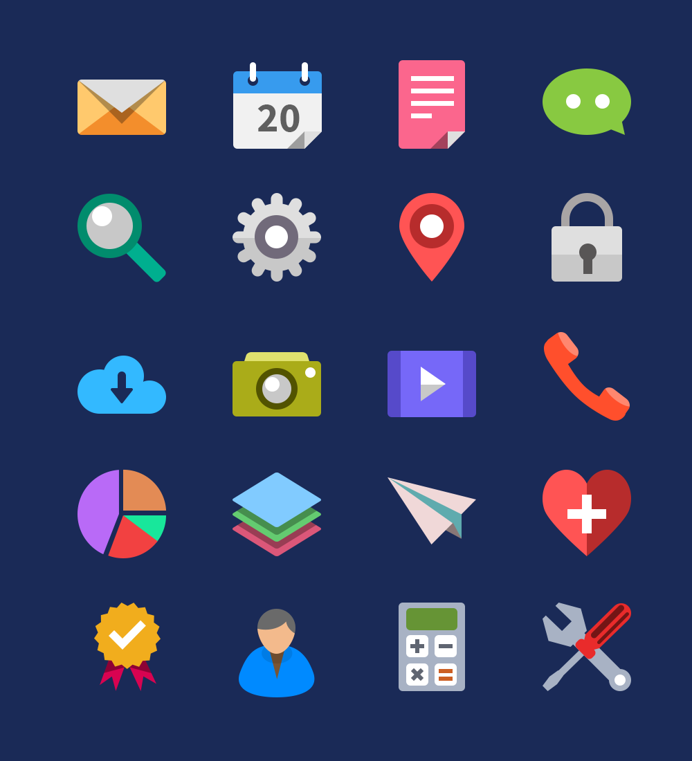 7 Perspective Flat Icons Images