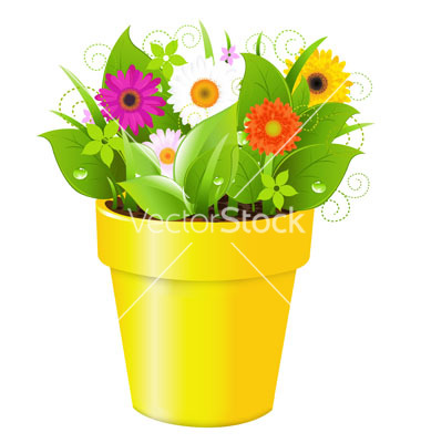 19 Vector Cartoon Flowers Pot Images
