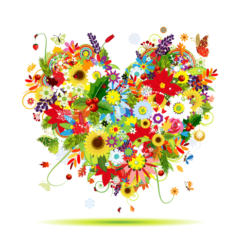 13 Music Vector Flower Heart Images