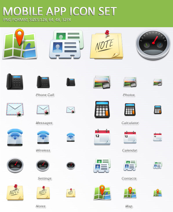 16 Mobile Icon Set Images