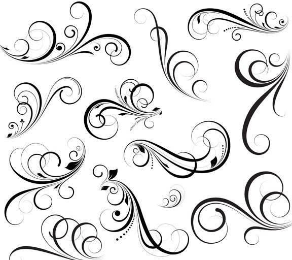 18 Swirls Floral Vector Patterns Images