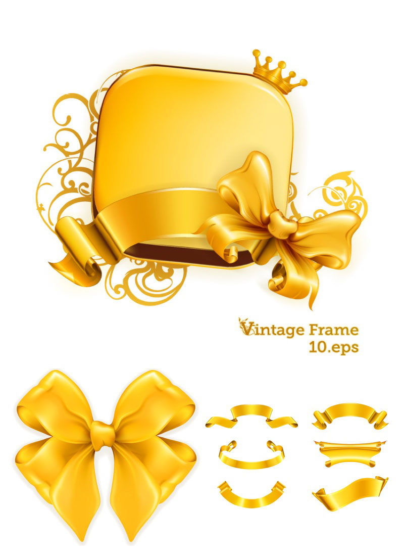 15 Gold Ribbon Vector Images