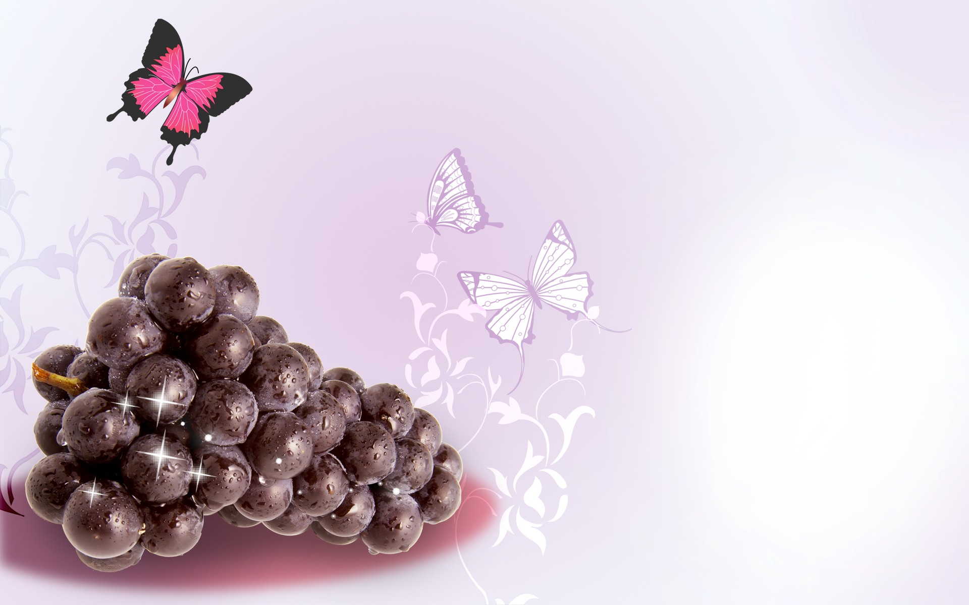 Graphic Design Background of Grapes and Fruit