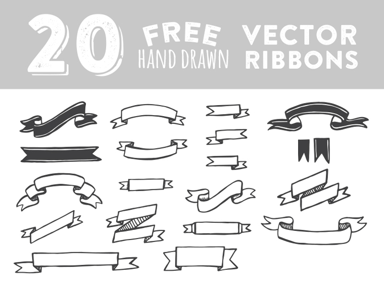 20 Hand Drawn Ribbon Vector Images