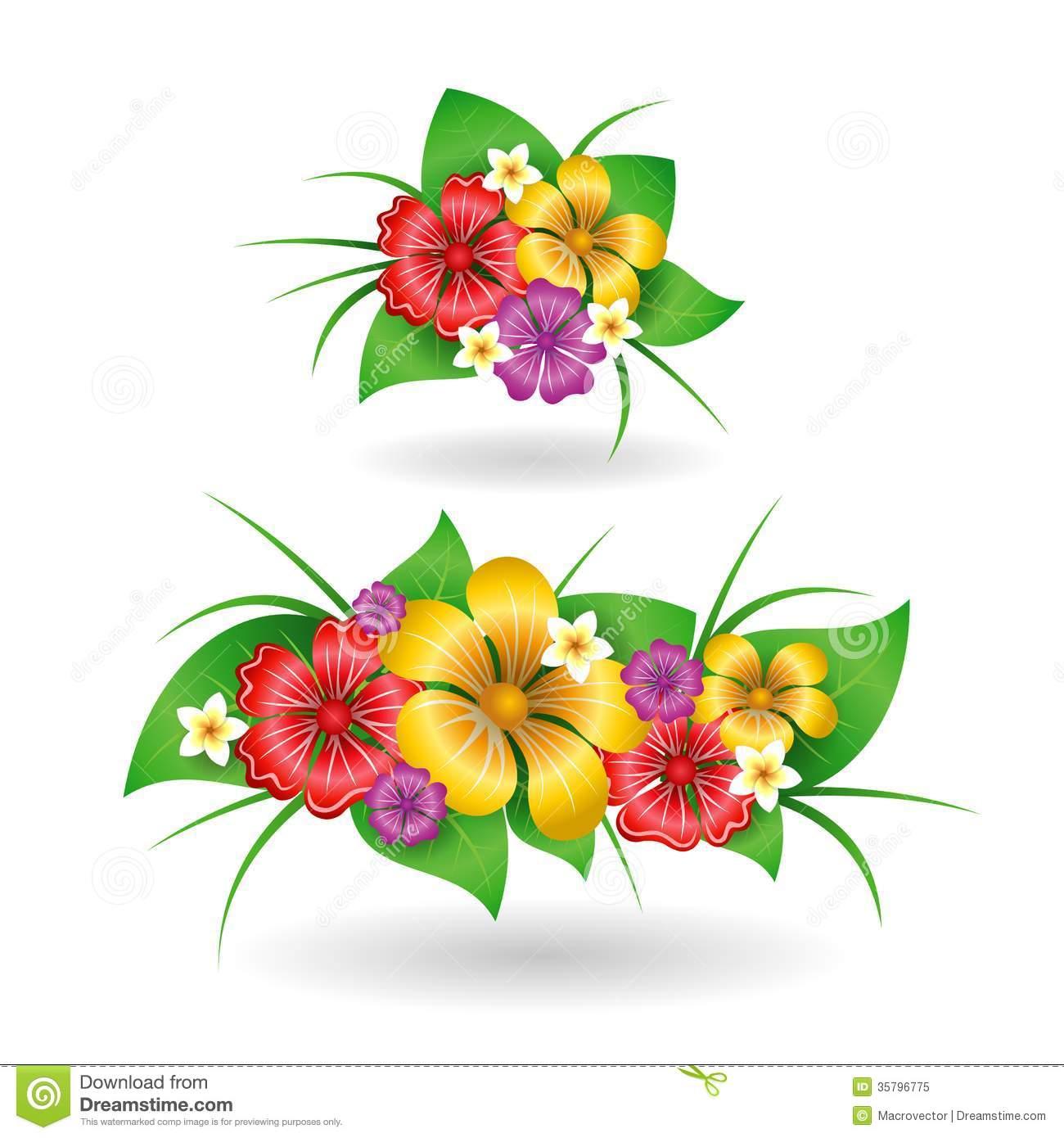 Hawaiian Tropical Flowers Vector