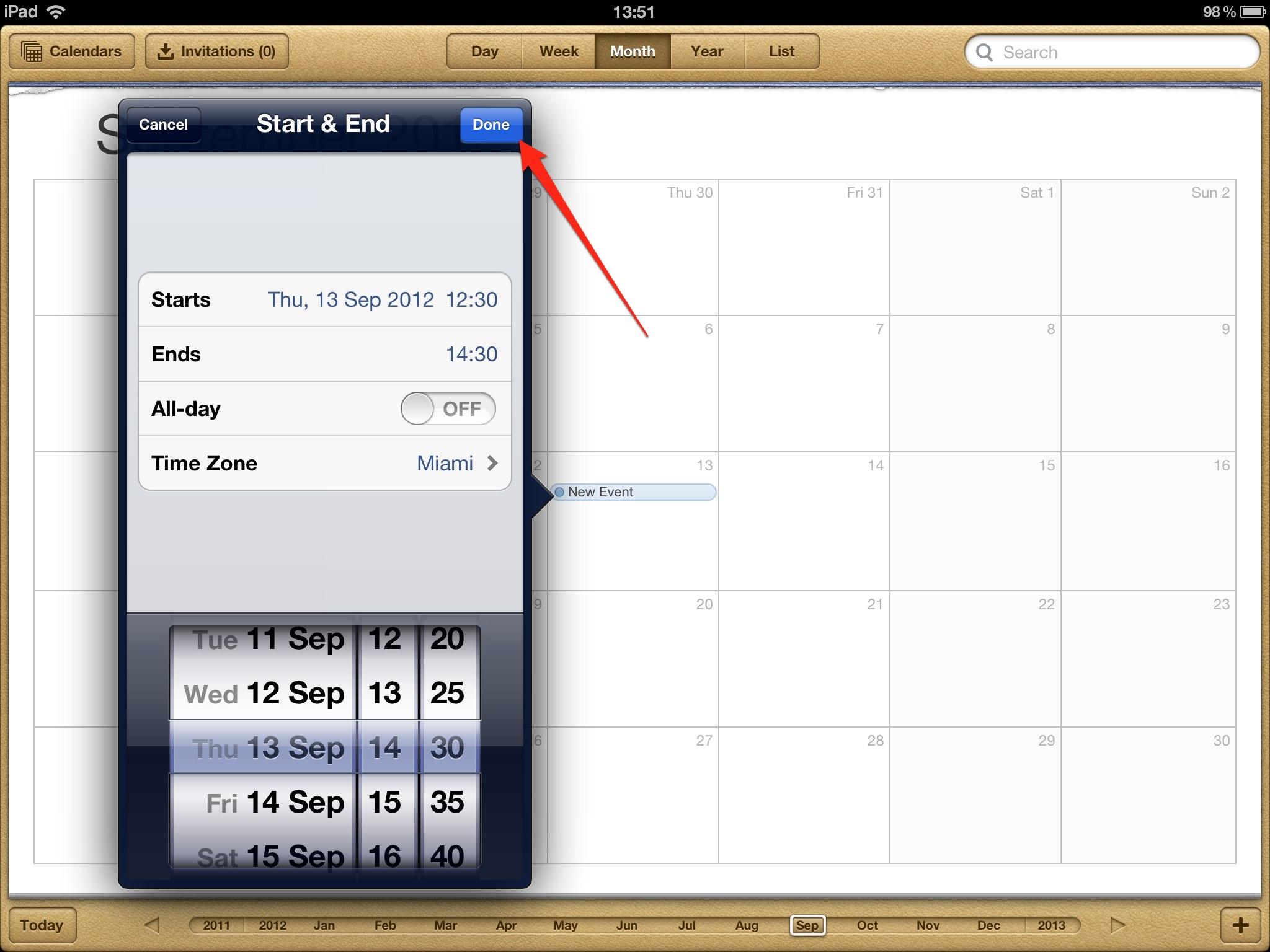 iPad Add Calendar Event App