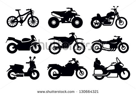 Motorcycle Vector Clip Art Black and White
