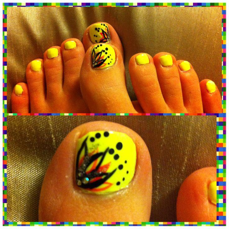 Neon Yellow Toe Nail Designs