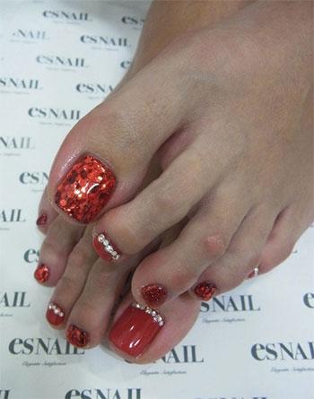 New Year Toe Nail Design