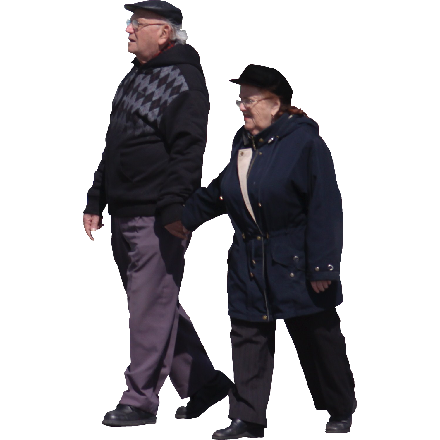 Old People Walking Holding Hands