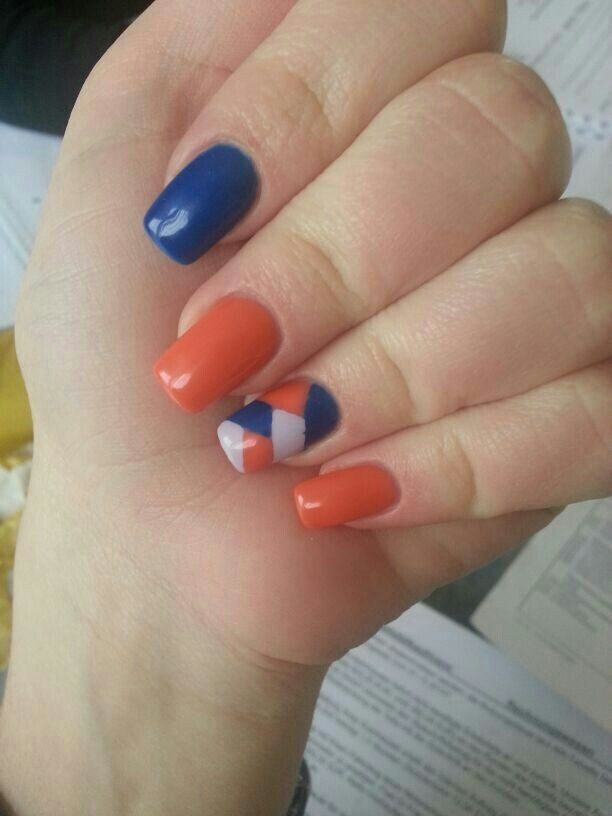 15 Orange And Blue Nail Designs Images Orange And Blue Nail Design