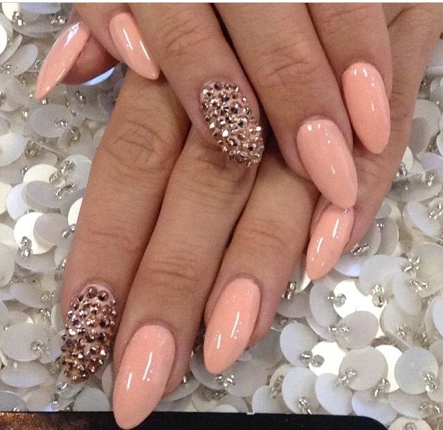 Peach and White Pointy Nail Designs