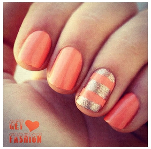 Peach Glitter Nail Design - 13 Peach Nail Designs Images - Peach Nails, Peach Glitter Nail