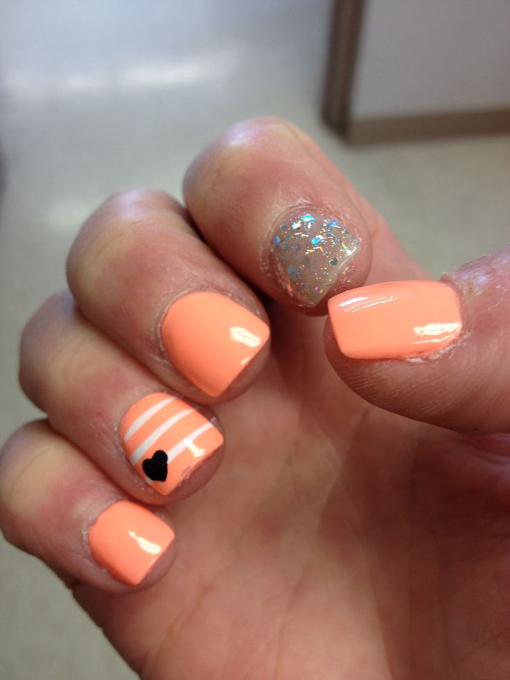 Peach Nails with Design
