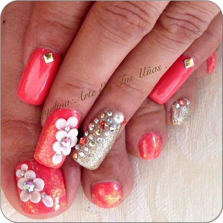 Pink White Nails with Design