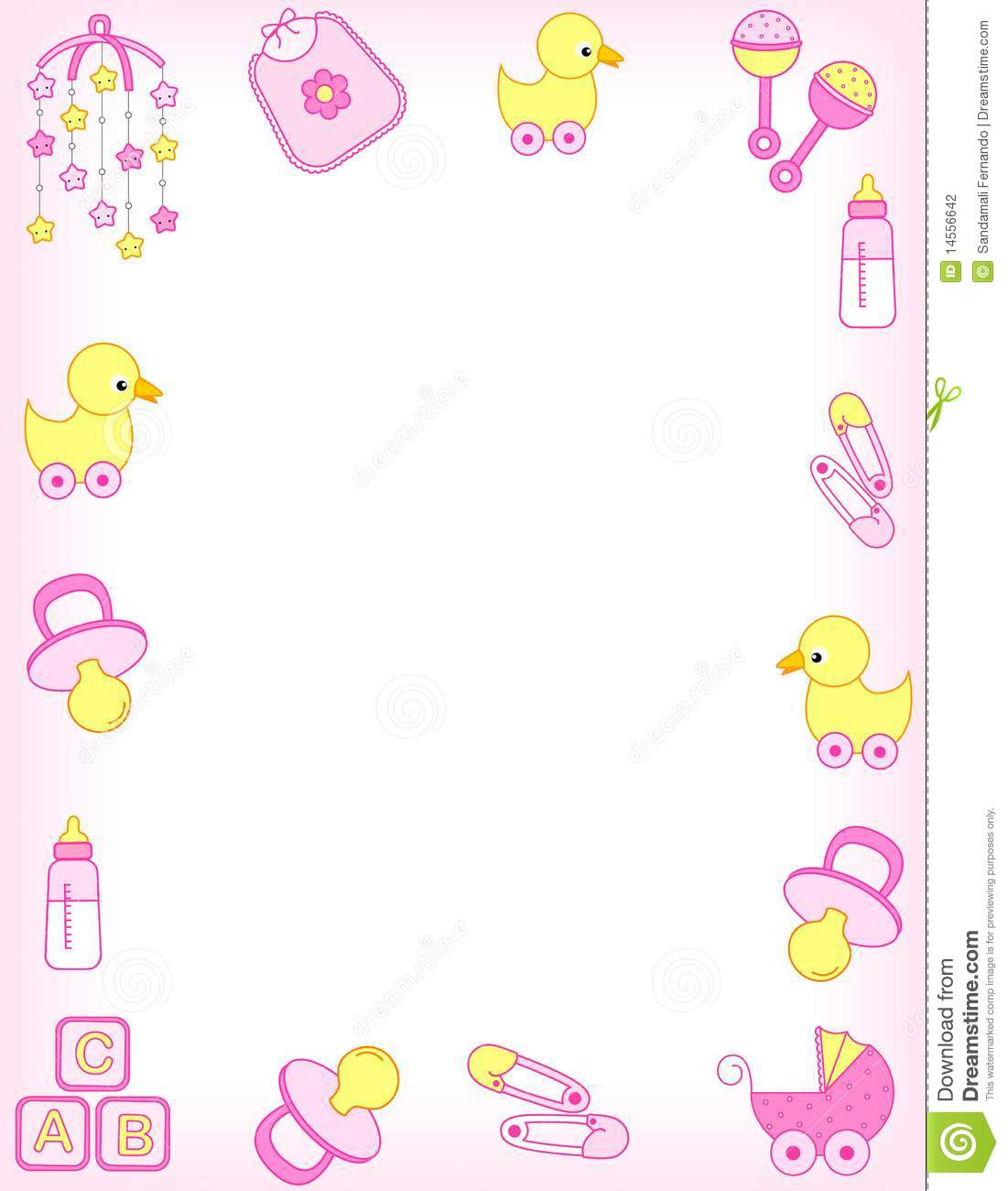 9 Mint Baby Girl Borders Vector Images
