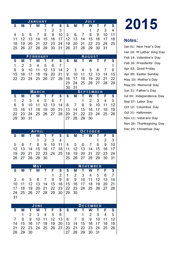 12 2015 yearly calendar template images