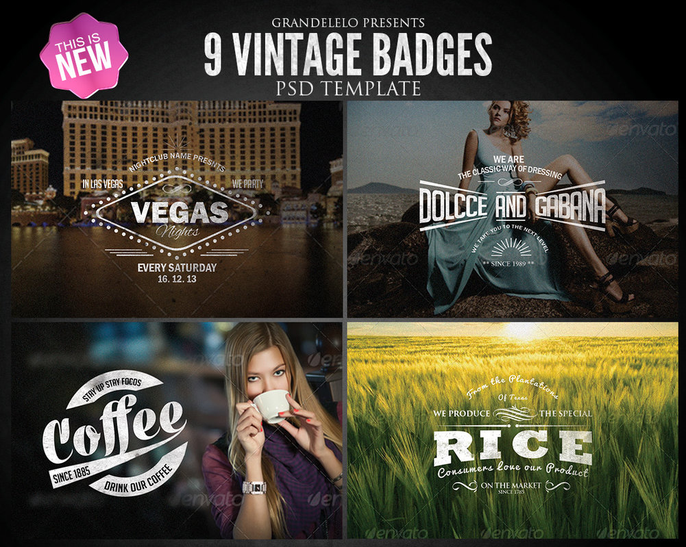 PSD Vintage Badges Template