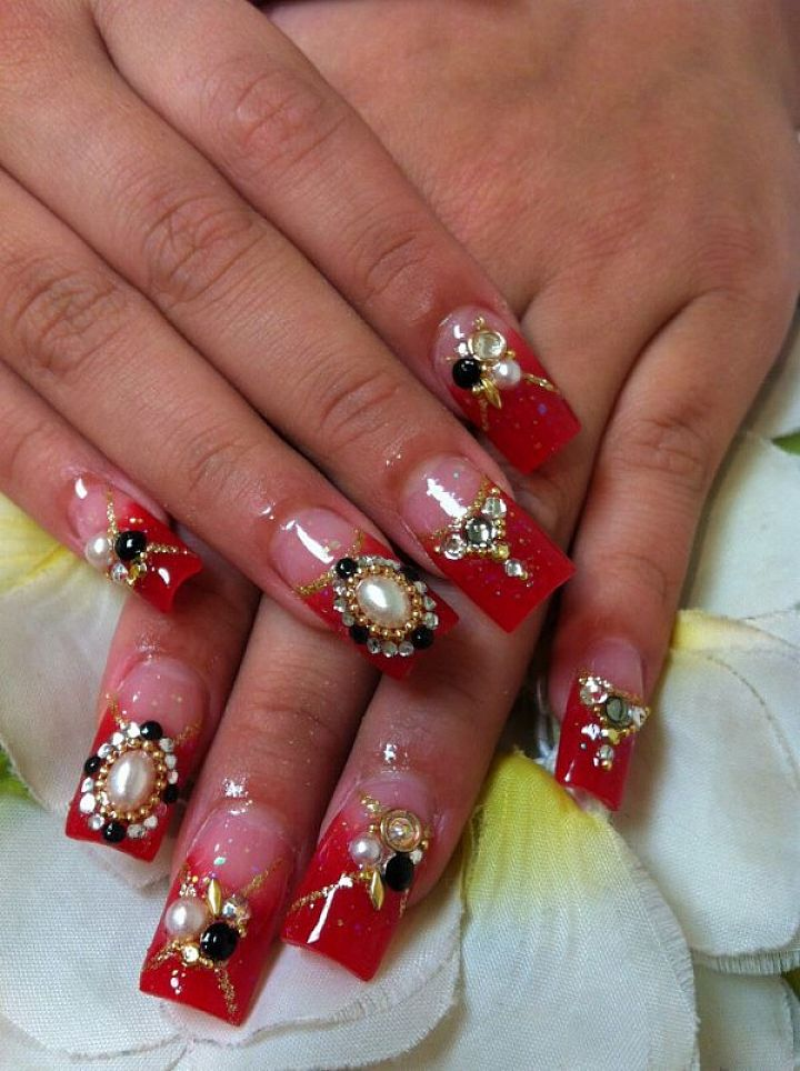 Red Acrylic Nails with Design