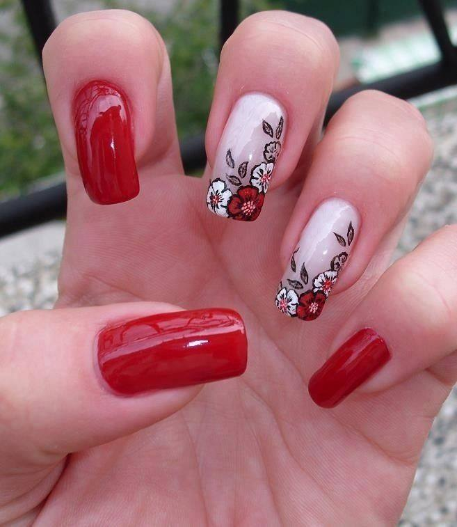 Red Nails with Flower Design