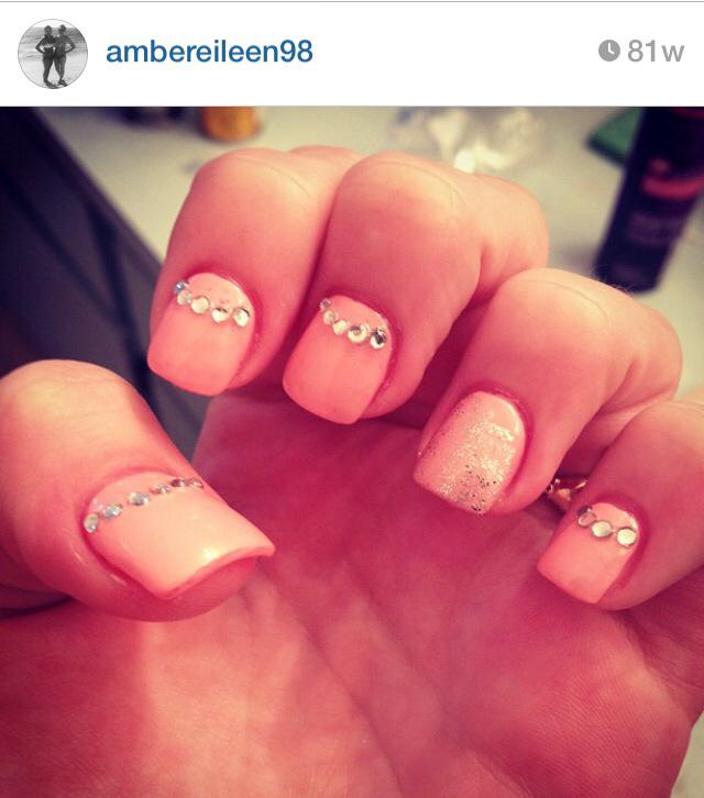Rhinestones Nails Design Peach