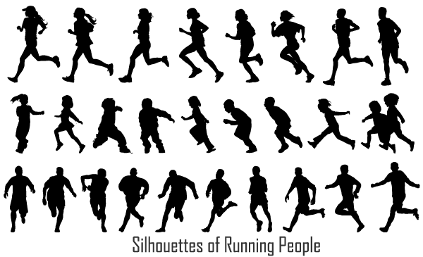 7 Running People Silhouette Vector Images