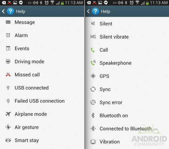 Samsung Galaxy S4 Icon Glossary