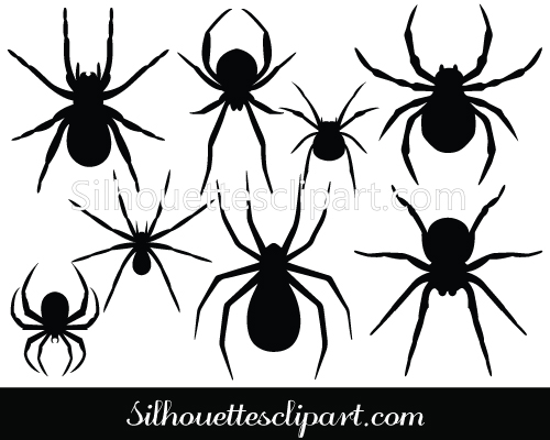 Silhouette Clip Art Halloween Spiders