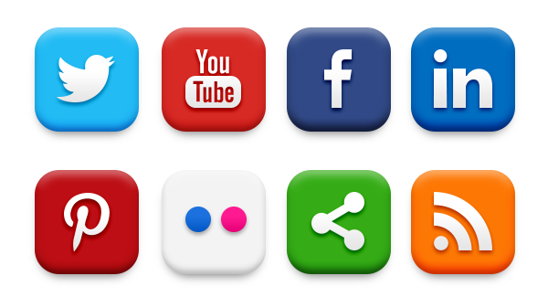 12 Social Media Icon Set PNG Images