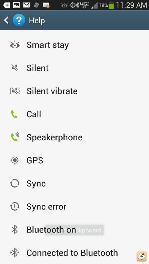 Verizon Samsung Phone Icons Glossary