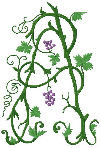 Vine Monogram Font Machine Embroidery