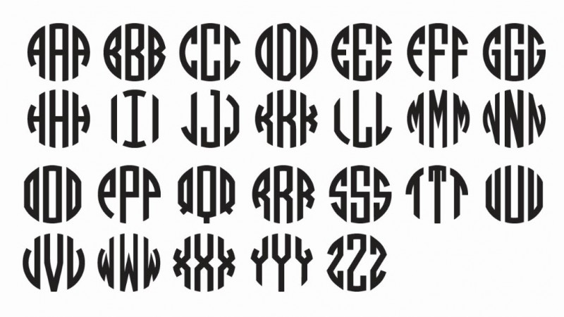 11 Vinyl Circle Monogram Font Images