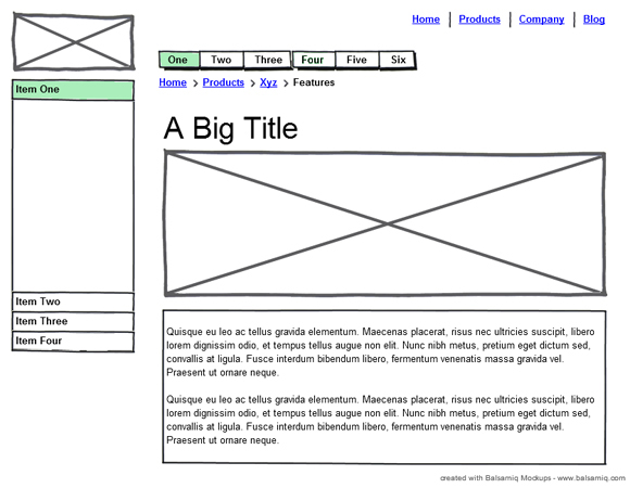 Web Page Wireframe Examples