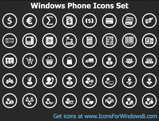 13 Windows Phone Icons White PNG Images