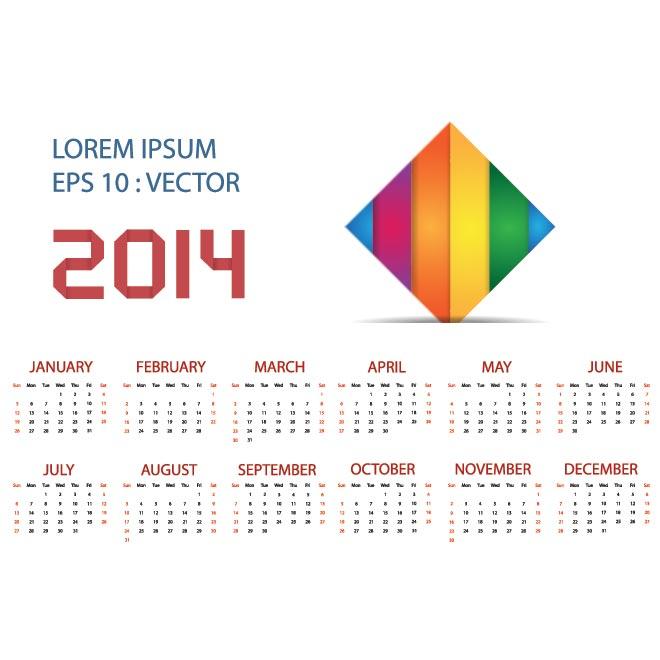 2014 Calendar Vector Template Free