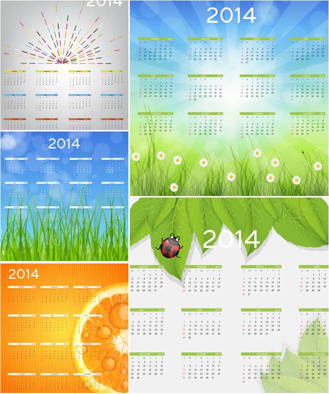 2014 Calendar Vector Template