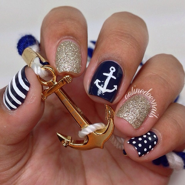 Anchor Blue and Gold Nail Designs