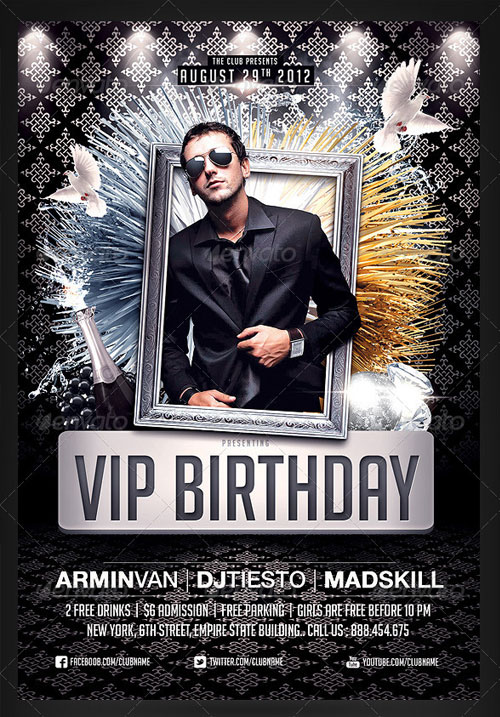 9 VIP Birthday Party Flyer PSD Template Images