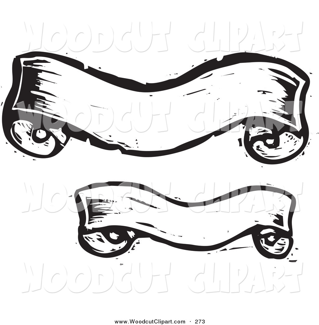 Black and White Banner Clip Art