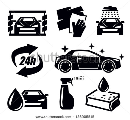 7 Black And White Icon Car Wash Images