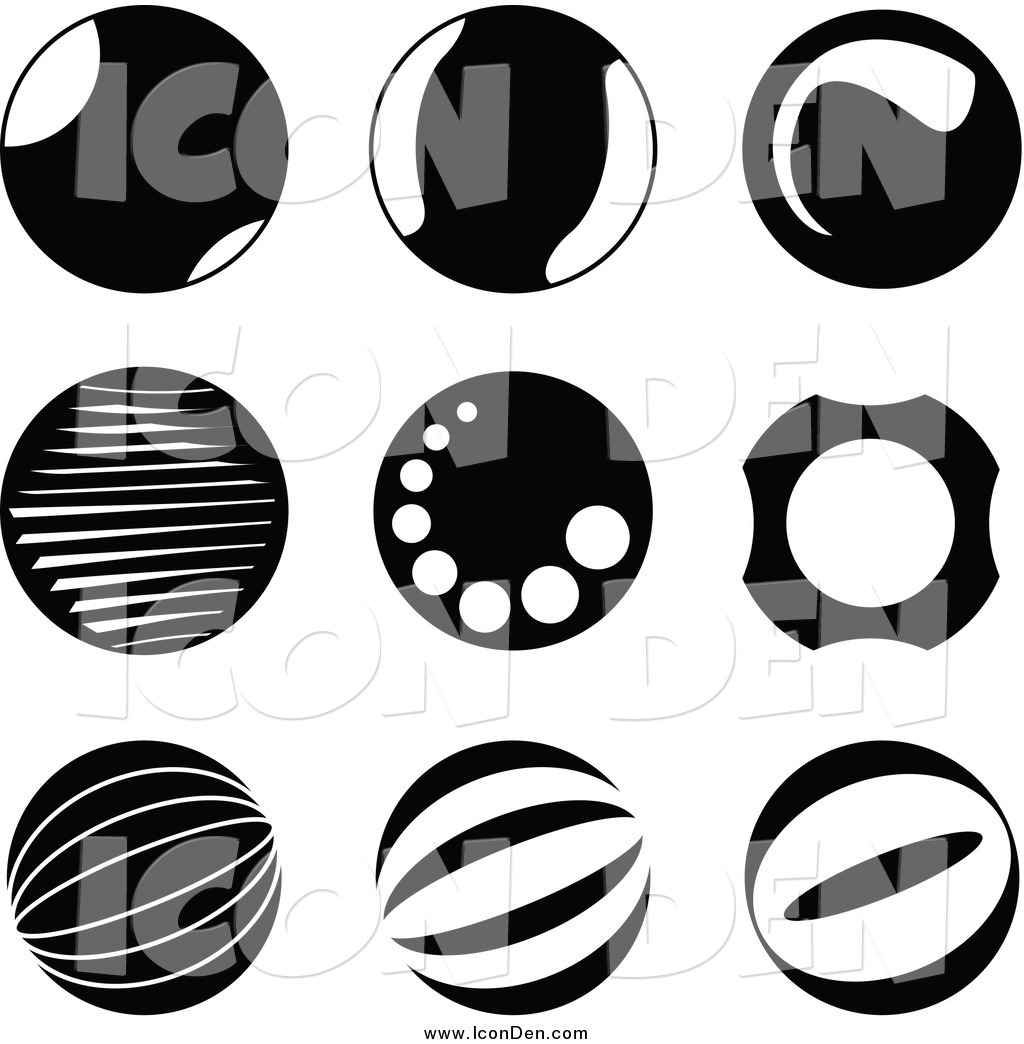 Black and White Circle Icons