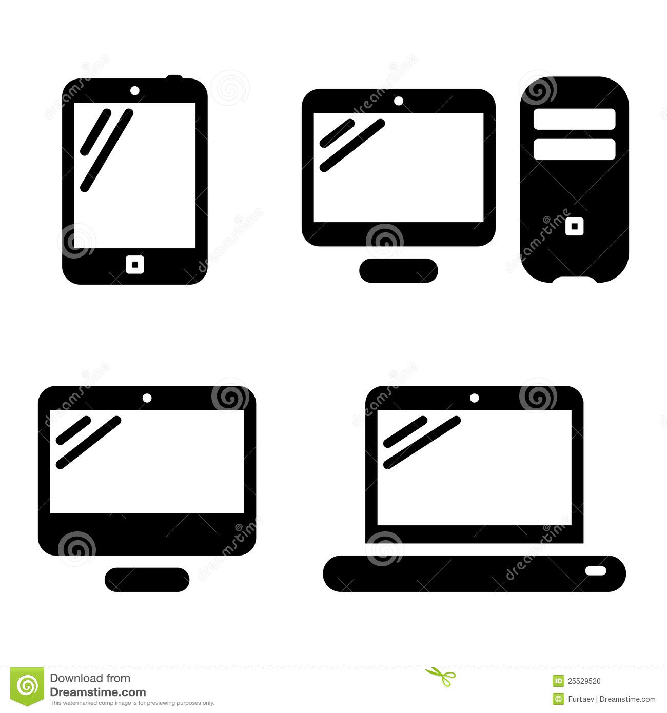 Black and White Computer Icon