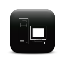 Black and White Desktop Computer Icon