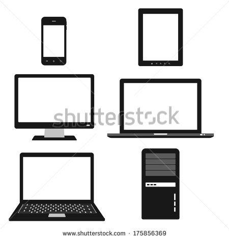Black and White Desktop Computer Icon