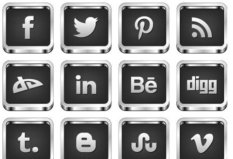 Black and White Social Media Icons Free