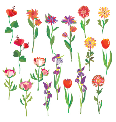 Bright Colored Flowers Clip Art
