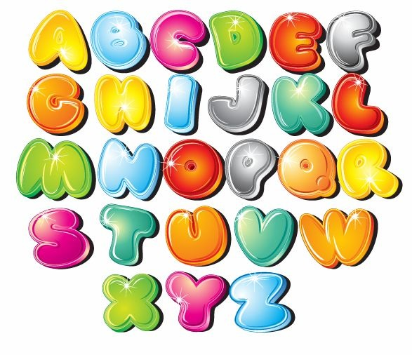 Cartoon Bubble Letters Alphabet